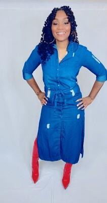 Distressed Denim Jean Dress