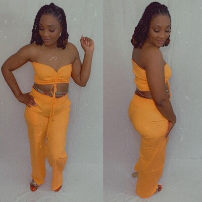 Linen Smocked Tube Top Set (Orange)