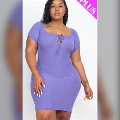 Plus Size String Tie Bodycon Dress