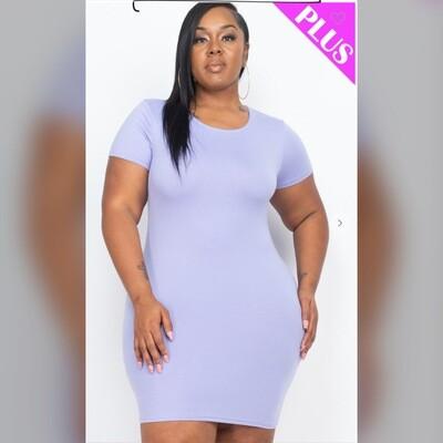 Plus Size Bodycon Mini Dress (Lilac)