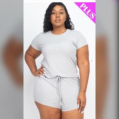 Plus Size Ribbed Short Set (Grey)