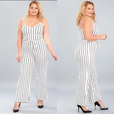 Plus Size Wide-Leg Jumpsuit (White)
