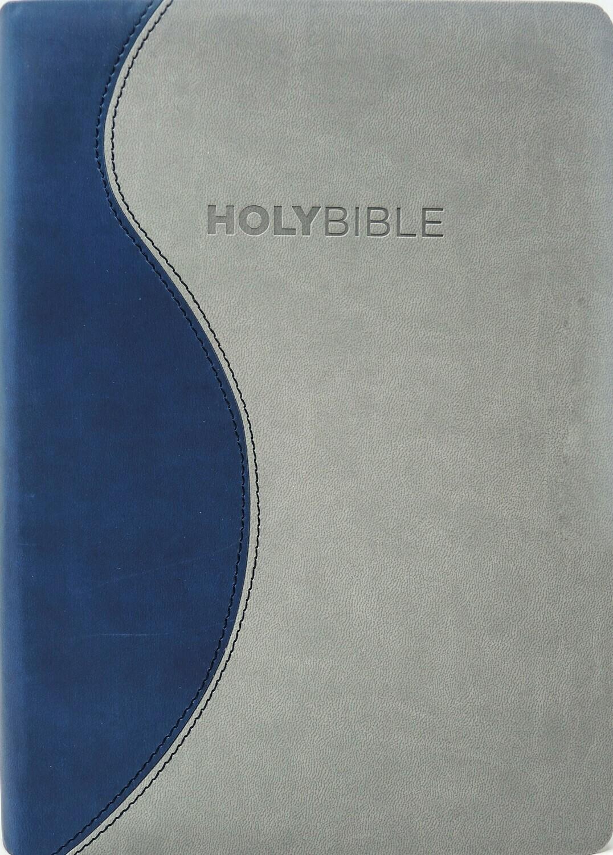 King James Version (KJV) Duo Blue/Charcoal PU Cover