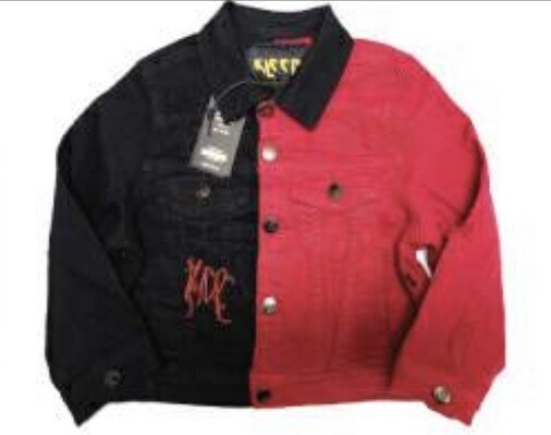 KLEEP JACKET HALF &HALF BLACK/RED