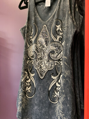 Garment Dye Tank W/ Print & Stones Char