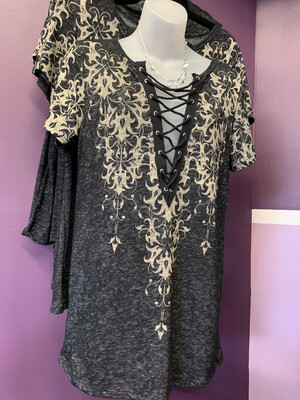 Short Sleeve Top W/ Lace Up Blk