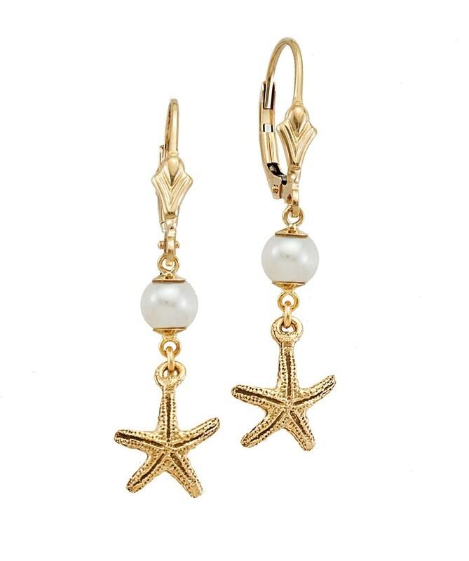 Starfish Pearl Drop Earrings