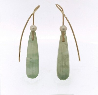 14k gold prehnite drops with fresh water pearls
