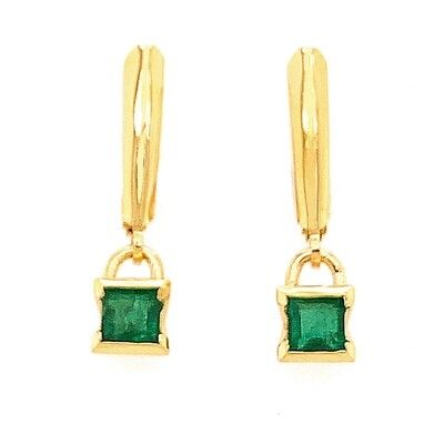 14k gold sea grass square emerald drop earrings
