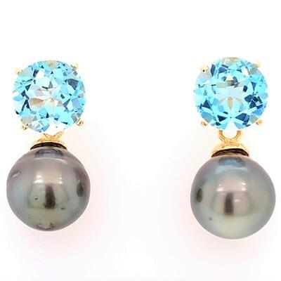 Brilliant Sky Blue Topaz and Tahitian Pearl Earrings