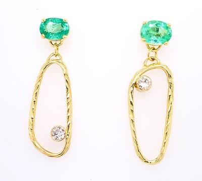 14k Gold Sea Grass Paraiba Tourmaline and Diamond Earrings