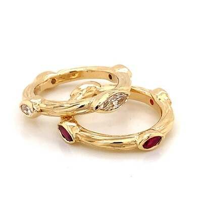 Sea Grass Stackable Rings with Diamond Marquise Stones