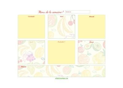 Bloc-notes BASIQUE (30 feuilles) « Menus de la semaine ! »