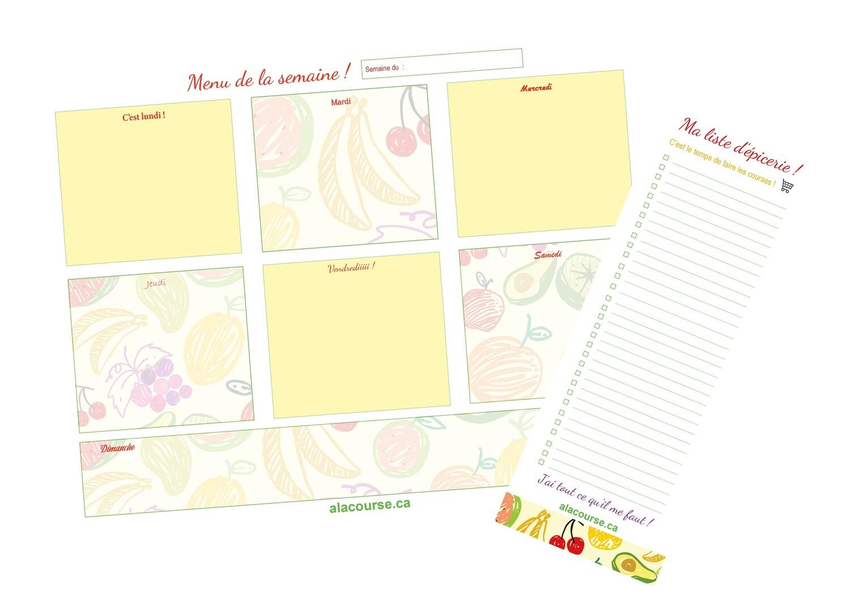 ENSEMBLE - Bloc-notes BASIQUE (30 feuilles) « Menus de la semaine ! » ET bloc-notes (30 feuilles) « Listes d'épicerie ! »
