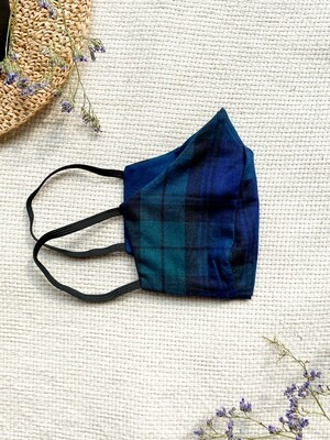 Reversible and reusable Face Mask - Green Check & Navy