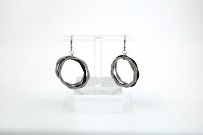 Piano Wire Silver/Black Twist Loop Earrings