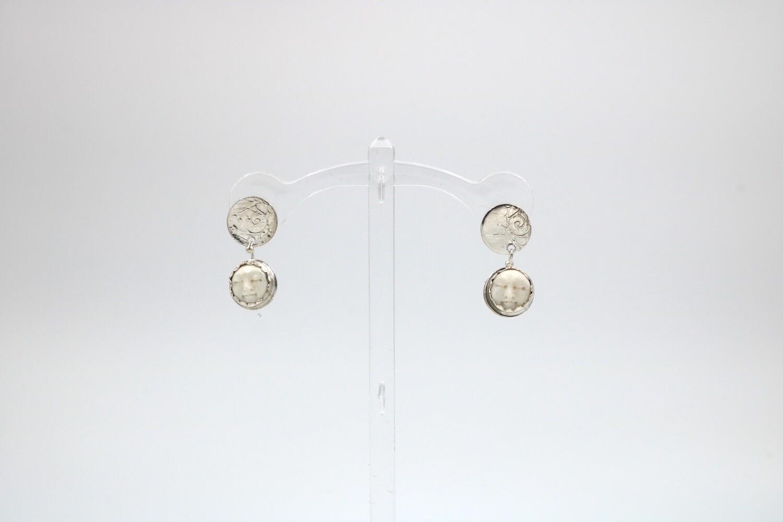 Andrea Abrams-Herbert Baby Moon Drop Silver Earrings