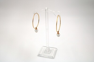 John Wind Cotton Pearl Hoop Gold Earring