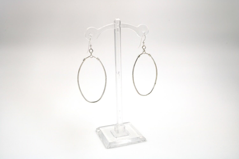 Large Oval Dangle Silver Earring
