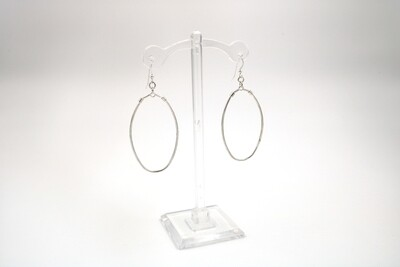 Large Oval Dangle Silver Earring