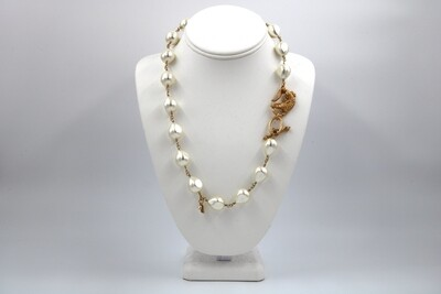 John Wind Baroque Pearl Gate/Gator Clasp Necklace 18""