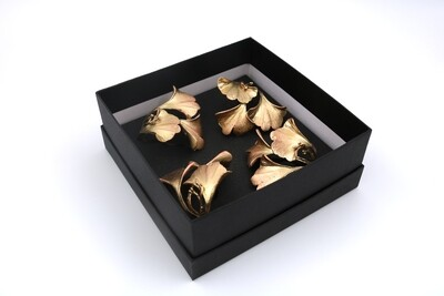 Gingko Napkin Rings Gold (Set of 4)