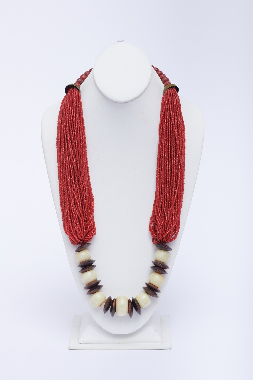 Coral/Wood/Bone Necklace