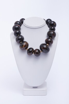 Large Dark Oval Bead Necklace