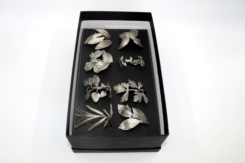 8 Herb Napkin Rings - Silver