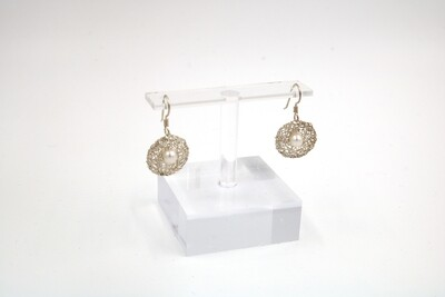Sterling Silver Small Circle/White Pearl Earrings