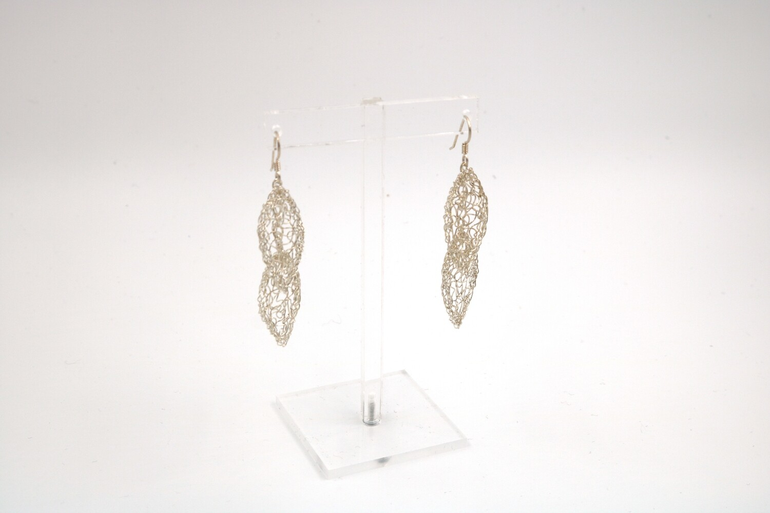 MetaLace Knitted Sterling Silver Two Leaves Earrings