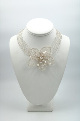 MetaLace Knitted Sterling Silver Necklace Flower/White Pearls