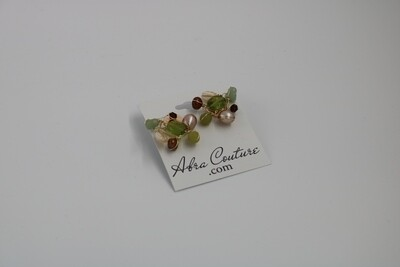 Abra Couture Green Brown Gem Cluster Pierced Earring