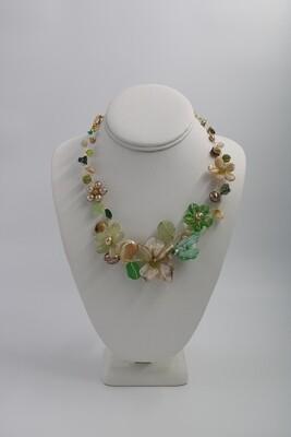 Abra Couture Green Beige Flower Collar Gold Wire Necklace