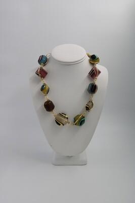 Abra Couture Multi Stripe Resin Necklace Gold Wire