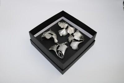 Table Art Gingko Napkin Rings (Set of 4) - Silver