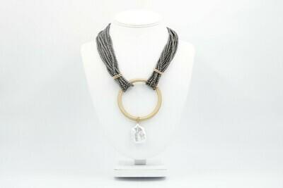Gunmetal Matte Hematite, Gold ring, Pearl