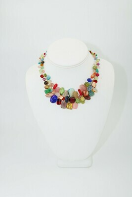 Abra Couture Multi Gem Large Collar Gold Wire Necklace