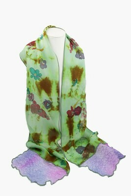 Kathy Robinson Hand Painted Scarf - Floral Swirl