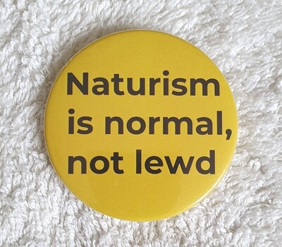 Naturism is normal, not lewd badge