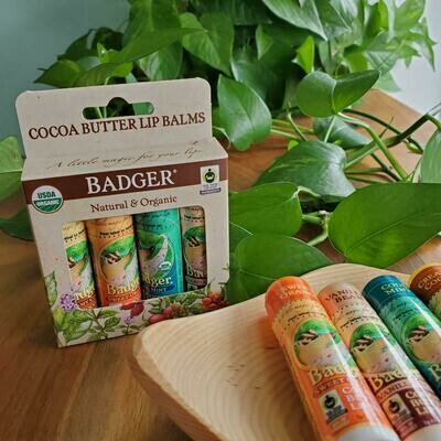 Badger Cocoa Butter Lip Balm 4-Pack
