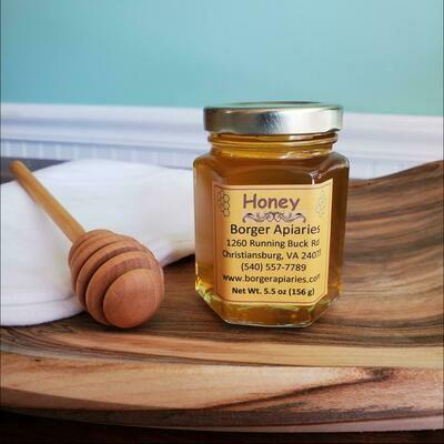 Borger Apiaries Honey Hexagonal Jar 5.5 oz