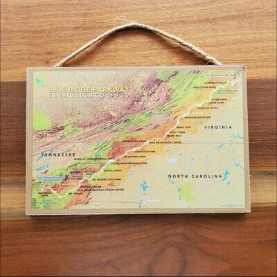 Blue Ridge Parkway Map Wooden Sign