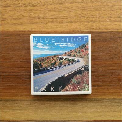 Blue Ridge Parkway Fall Road Ceramic Coaster