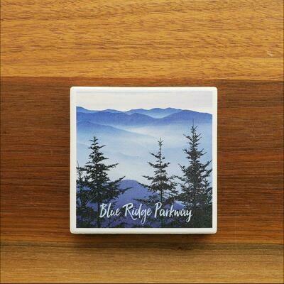 Blue Ridge Parkway Pine Trees Ceramic Coaster