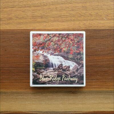 Blue Ridge Parkway Waterfall Ceramic Coaster