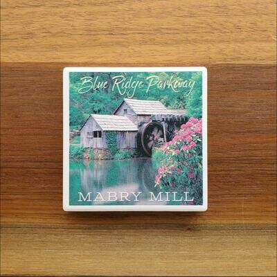 Blue Ridge Parkway Spring Mabry Mill Ceramic Coaster