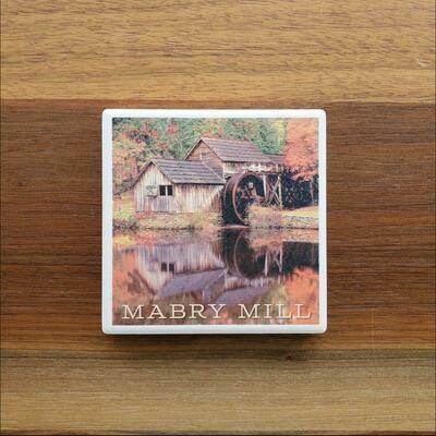 Blue Ridge Parkway Fall Mabry Mill Ceramic Coaster