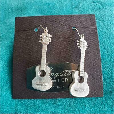 Langston Pewter Guitar Earrings