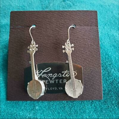 Langston Pewter Banjo Earrings